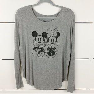 DISNEY Mickey Minnie Scoop Neck Long Sleeve Small